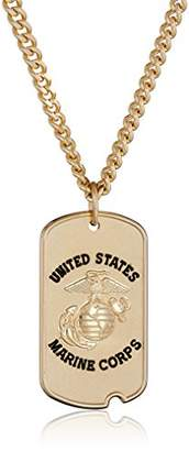 Men's 14k Gold-Filled United States Marine Corps Saint Christopher Dogtag Medal with Gold Plated Stainless Steel Chain Pendant Necklace