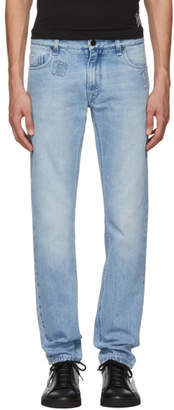 Fendi Blue Logo Slim Jeans