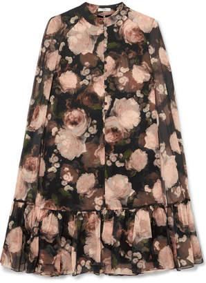 Erdem Constantine Cape-effect Floral-print Silk-chiffon Mini Dress - Black