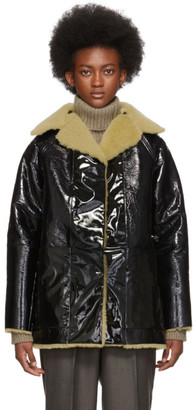 Kassl Editions Reversible Black Lacquer Sheepskin Coat