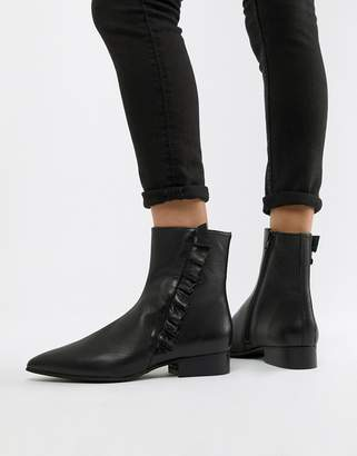 Selected Leather Frill Detail Ankle Boots