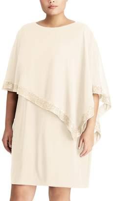 Chaps Plus Size Georgette Overlay Sheath Dress