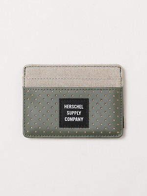 Herschel New Mens Charlie Wallet In Light Khaki Crosshatch Forest Wallets