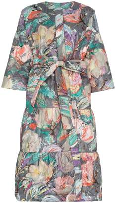 Rianna + Nina floral print quilted long sleeve cotton coat