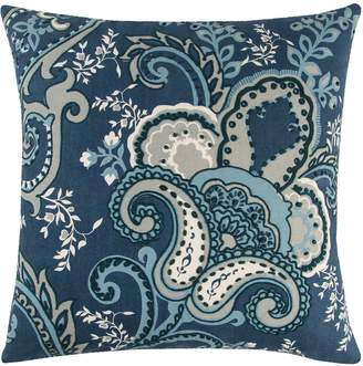 Rizzy Home Andrew Charles Navy Floral Transitional Throw Pillow