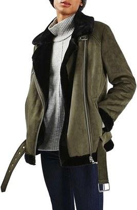Women's Topshop April Faux Shearling Biker Jacket $150 thestylecure.com