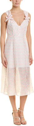 Talulah Polka Dot Linen-Blend Midi Dress