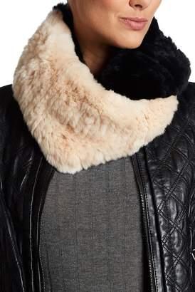 Surell Genuine Rex Rabbit Fur Colorblock Infinity Scarf