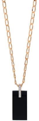 ginette_ny 18k Rose Gold Onyx & Diamond Art Deco Necklace