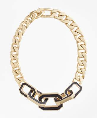 Brooks Brothers Chain Leather Knot Necklace
