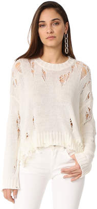 R 13 Shredded Side Slit Sweater
