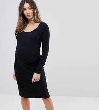 5781408be8d64 Licious Mamalicious maternity organic long sleeve bodycon midi dress in  black