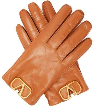 Valentino V Logo Plaque Leather Gloves - Womens - Tan