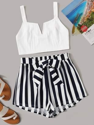 Shein V-cut Neck Cami Crop Top & Striped Belted Shorts Set