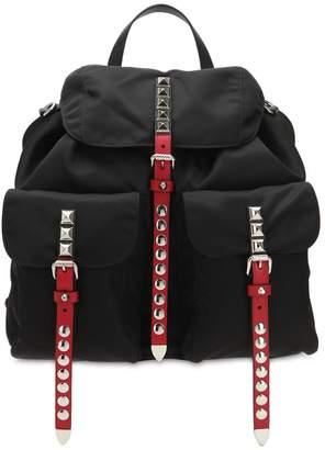 Prada Nylon Backpack W/ Studded Straps