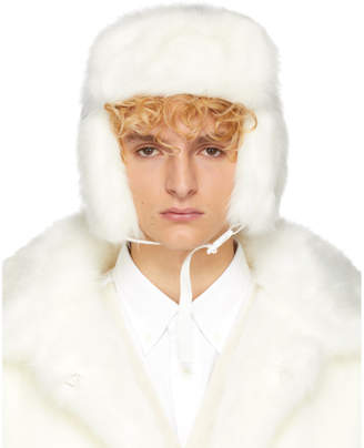 Landlord White Faux-Fur Trapper Hat