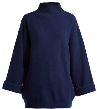 A.P.C. Big High Neck Wool Blend Sweater - Womens - Dark Blue