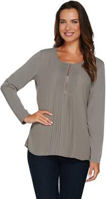Susan Graver Artisan Liquid Knit Top with Pleated Woven Front