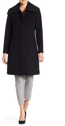 Cole Haan Front Button Wool Blend Coat