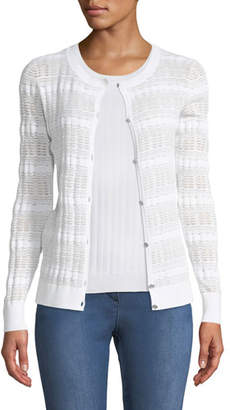 St. John Monica Sheer-Knit Button-Front Cardigan