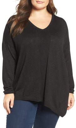 NYDJ Shimmer Asymmetrical Sweater (Plus Size) $138 thestylecure.com