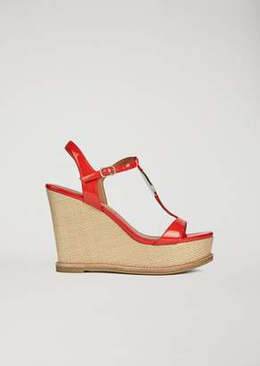 Emporio Armani Sandals With Woven Wedge