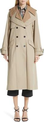 ADAM by Adam Lippes Trench Coat with Vest & Removable Fringe