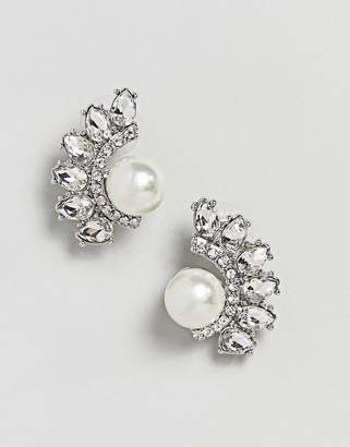 True Decadence Silver Embellished Pearl Studs