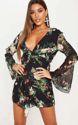 PrettyLittleThing Black Floral Print Knot Front Shift Dress