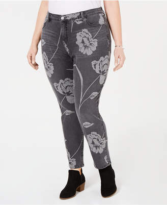 Style&Co. Style & Co Plus Size Printed Curvy Skinny Jeans, Created for Macy's