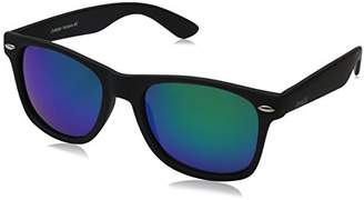 Zerouv ZV-8025-07 Retro Matte Black Horned Rim Flash Colored Lens Sunglasses
