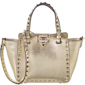 Valentino Mini Rockstud Metallic Leather Tote