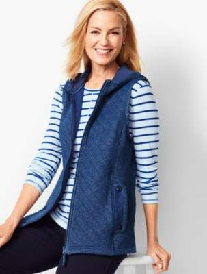 Talbots Quilted Jacquard Hoodie Vest