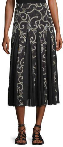 Fuzzi Scroll Floral Pleated Midi Skirt