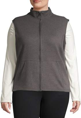Karen Scott Plus Textured Cotton-Blend Vest