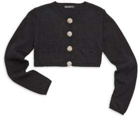 Girl's Embellished Button Cardigan