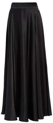 Olga Wtr WtR Black Satin High Waisted Maxi Skirt