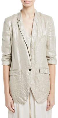 Giada Forte Linen Laminated One-Button Jacket