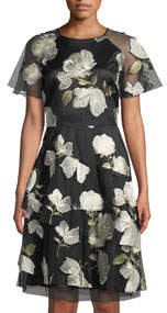 Short-Sleeve Floral-Embroidered Mesh Dress