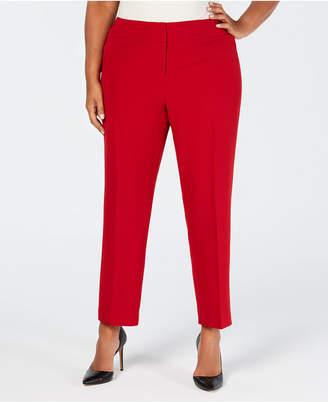Kasper Plus Size Stretch Crepe Slim-Leg Pants