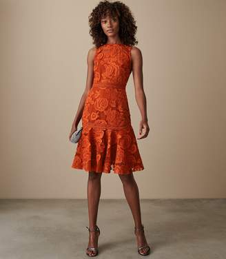 Reiss ADIA LACE FIT AND FLARE DRESS Winter Orange