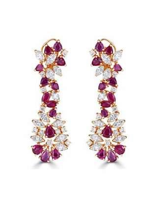 ZYDO Unique 18k Rose Gold Diamond & Ruby Drop Earrings
