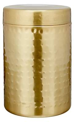 John Lewis & Partners Hammered Stainless Steel Canister, Gold, Large