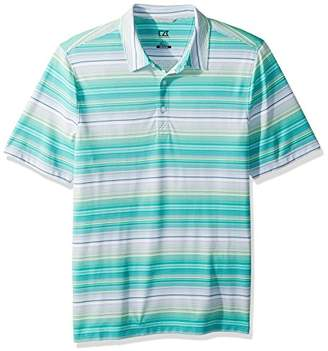 Cutter & Buck Men's Moisture Wicking Fleet Multi-Color Stripe Jersey Polo Shirt