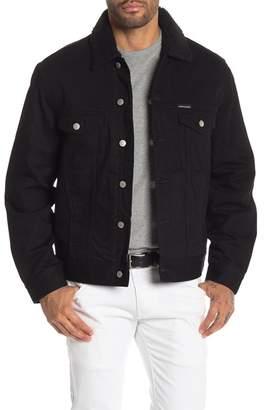 Calvin Klein FUR Faux Shearling Lined & Trimmed Denim Jacket
