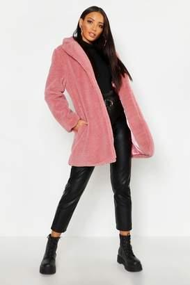 boohoo Collared Faux Fur Teddy Coat