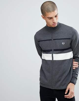 Fred Perry Textured Zip Through Cardigan In Gray