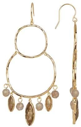 Gorjana Eliza Stone Beaded Hammered Double Hoop Chandelier Earrings