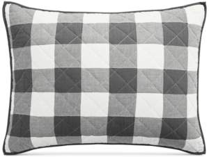 Martha Stewart Collection Box Plaid Reversible Yarn-Dyed Quilted King Sham, Created for Macy's