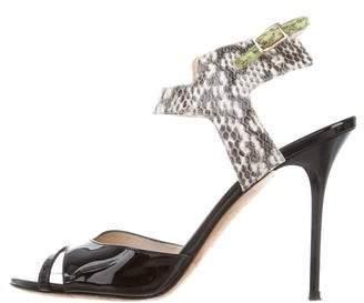 Jimmy Choo Snakeskin Ankle Strap Sandals